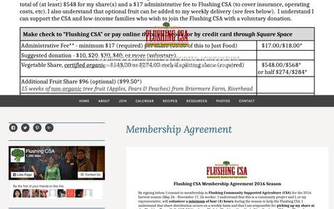 Screenshot of Signup Page flushingcsa.com - Membership Agreement – Flushing Community Supported Agriculture - captured Aug. 4, 2016