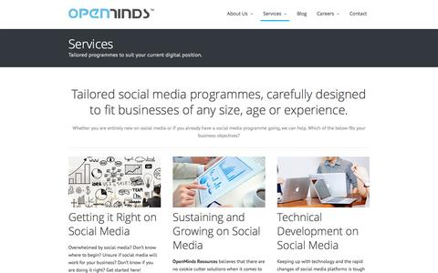 Screenshot of Services Page openmindsresources.com - Services at OpenMinds Resources | Social Media Marketing and Analytics Malaysia - captured Aug. 13, 2016