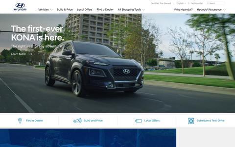 Screenshot of Home Page hyundaiusa.com - Hyundai Cars, Sedans, SUVs, Compacts, and Luxury   Hyundai - captured April 24, 2018