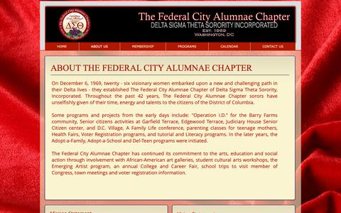 Screenshot of About Page thefcacdst.org - FCAC, Federal City Alumnae Chapter- Delta Sigma Theta | ABOUT US - captured Oct. 18, 2018