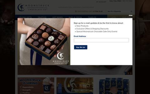 Screenshot of Home Page moonstruckchocolate.com - Winter Gifts: Gourmet Oregon Chocolate, Portland Artisan Chocolates | Moonstruck Chocolate Company - captured Dec. 3, 2016