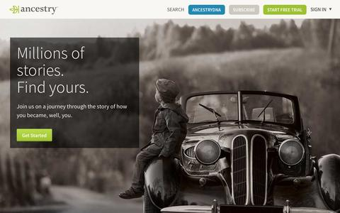 Screenshot of Home Page ancestry.com - Genealogy, Family Trees & Family History Records at Ancestry.com - captured Sept. 13, 2014