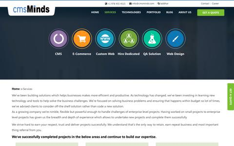 Screenshot of Services Page cmsminds.com - Leading Web Development Company in Wordpress, Drupal, Magento, PHP - captured June 22, 2017