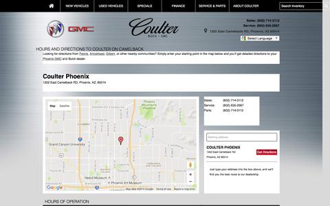 Screenshot of Maps & Directions Page coulteroncamelback.com - Hours and Directions to Coulter on Camelback - captured Nov. 12, 2016