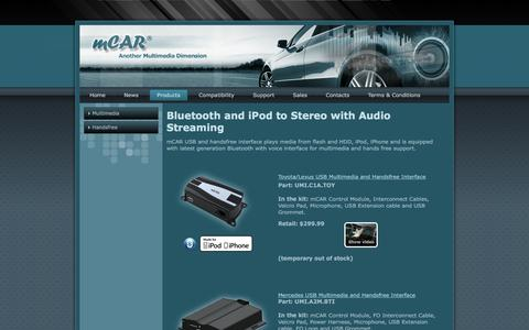 Screenshot of Products Page mcar.us - mCAR Multimedia Interface - Bluetooth and iPod to Stereo with Audio Streaming - captured April 2, 2016