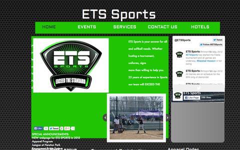 Screenshot of Home Page etssports.com - Home - captured July 17, 2015