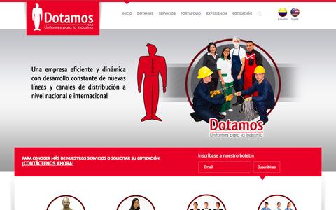 Screenshot of Home Page dotamos.com.co - Dotación de uniformes en Medellín Dotamos S.A.S - Colombia - captured Sept. 12, 2015
