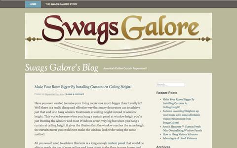 Screenshot of Blog swagsgalore.com - Swags Galore's Blog   America's Online Curtain Superstore!! - captured Sept. 25, 2014