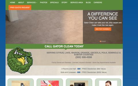 Screenshot of Home Page gatorclean.net - Carpet Cleaning | Tile Cleaning | Air Duct Cleaning | Gator Clean - captured Dec. 7, 2015