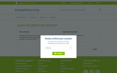 Screenshot of Login Page triumphlearning.com - Customer Login - captured Oct. 8, 2014