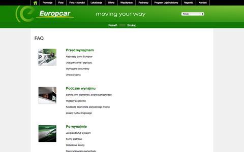 Screenshot of FAQ Page europcar.com.pl - FAQ - captured Nov. 2, 2014