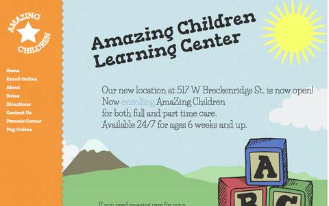 Screenshot of Home Page amazingchildcare.com - Louisville Child Care - AmaZing Children Learning Center - Day Care - captured Oct. 2, 2014