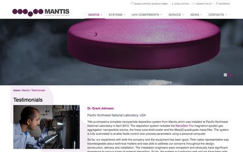 Screenshot of Testimonials Page mantisdeposition.com - Mantis Deposition Systems: Testimonials - captured Nov. 19, 2016