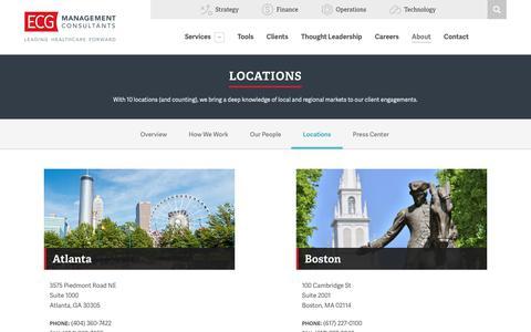Screenshot of Locations Page ecgmc.com - Locations - ECG Management Consultants - captured Oct. 4, 2018