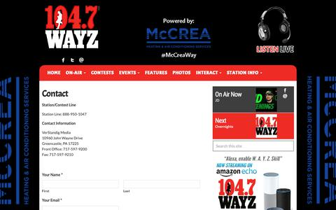 Screenshot of Contact Page wayz.com - Contact Us | 104.7 WAYZ - captured Oct. 19, 2018