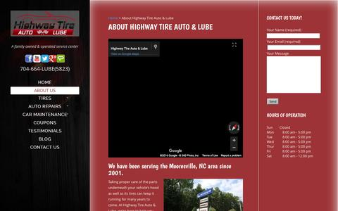Screenshot of About Page highwaytirelkn.com - About Highway Tire Auto & Lube | Mooresville, NC - captured Jan. 30, 2016