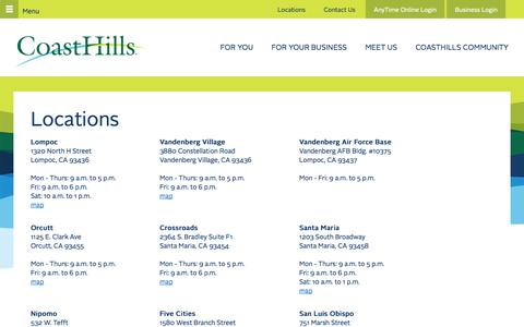Screenshot of Locations Page coasthills.coop - Locations - captured Sept. 24, 2014