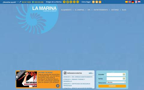 Screenshot of Home Page campinglamarina.com - Camping en Alicante - Camping Internacional La Marina Resort, Costa Blanca - captured Oct. 2, 2014
