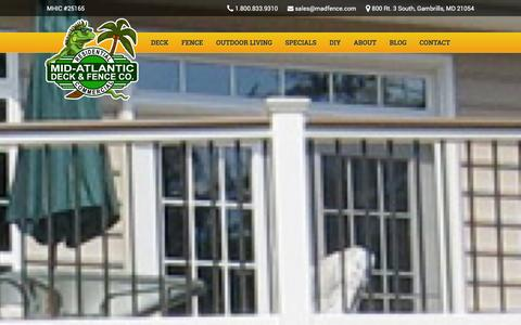Screenshot of Site Map Page midatlanticdeckandfence.com - Sitemap - Mid Altantic Deck and Fence Builders of Maryland - captured Jan. 10, 2016