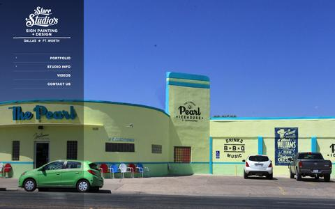 Screenshot of Home Page starrstudios.net - Dallas Sign Painting, Gold Leafing, Glass Signs: Starr Studios - captured Oct. 9, 2014