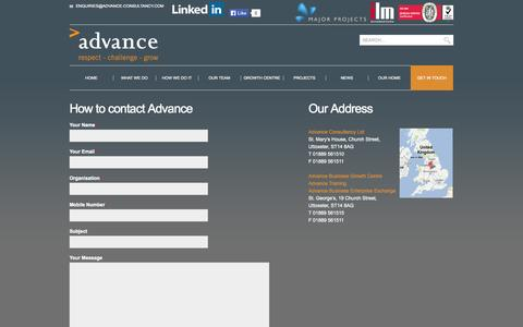 Screenshot of Contact Page advance-consultancy.com - Get in touch - Advance ConsultancyAdvance Consultancy - captured Oct. 8, 2014