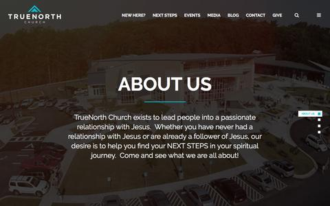 Screenshot of About Page truenorthchurch.com - About Us - TrueNorth Church - captured Feb. 27, 2016