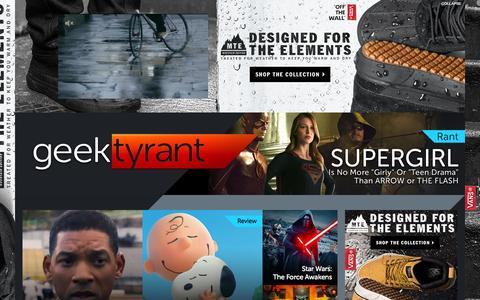 Screenshot of Home Page geektyrant.com - GeekTyrant – Geek Movie and Entertainment News - captured Nov. 5, 2015