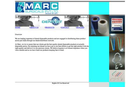 Screenshot of Home Page marcsurgicals.com - Marc Surgicals Pvt Ltd - Disposable dental products, GP points, orthopedic and spinal implants, Ophthalmic full range - captured Oct. 6, 2014