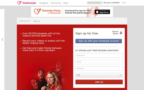 Screenshot of Signup Page redkaraoke.com - Register on Red Karaoke, the free online karaoke - captured Oct. 25, 2015