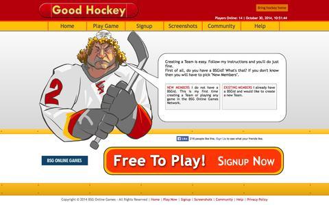 Screenshot of Signup Page goodhockey.com - Good Hockey - Create a Team - captured Oct. 30, 2014