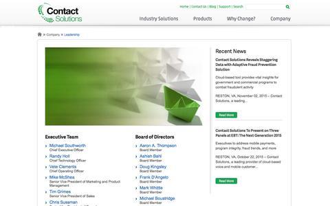 Screenshot of Team Page contactsolutions.com - Leadership | Contact Solutions - captured Dec. 4, 2015