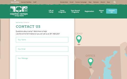 Screenshot of Contact Page capitalcamps.org - Contact Us  |  Capital Camps - captured Dec. 6, 2015