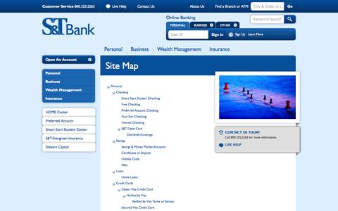 Screenshot of Site Map Page stbank.com - S&T Bank - Site Map - captured Sept. 24, 2014
