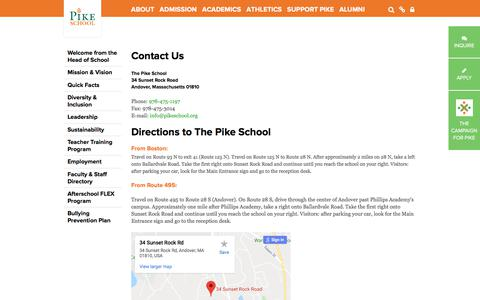 Screenshot of Maps & Directions Page pikeschool.org - The Pike School: Contact Us & Directions - captured July 3, 2018