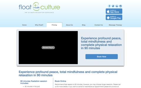 Screenshot of Pricing Page floatculture.co.nz - Float Culture -  Auckland's Floatation Tank Centre - captured Jan. 8, 2016