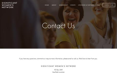 Screenshot of Contact Page significantwomensnetwork.com - Contact Us — Significant Women's Network - captured Aug. 18, 2016