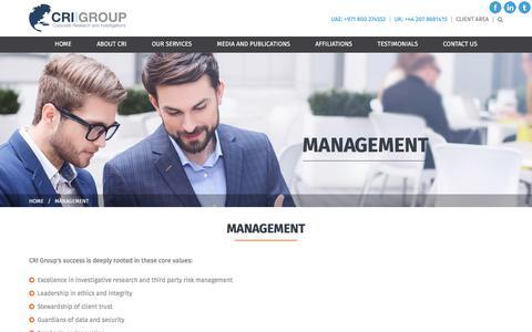 Screenshot of Team Page crigroup.com - Management   CRI Group - captured Sept. 3, 2017
