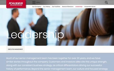 Screenshot of Team Page kaiseraluminum.com - Leadership – Kaiser Aluminum - captured April 21, 2018