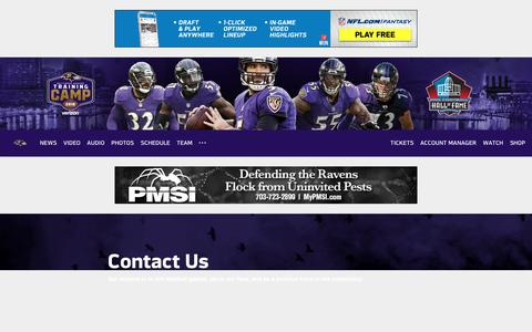 Screenshot of Contact Page baltimoreravens.com - Baltimore Ravens | Contact Us - captured Aug. 1, 2018