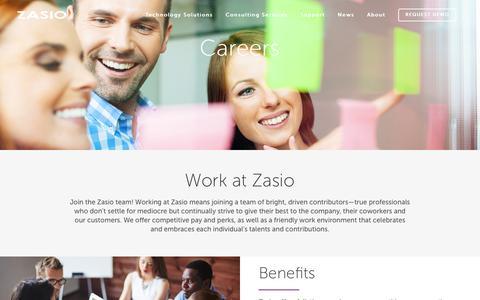 Screenshot of Jobs Page zasio.com - Zasio |   Career - captured Feb. 26, 2016