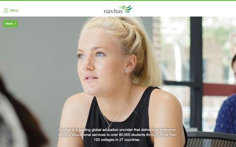 Screenshot of Home Page navitas.com - Navitas - Study at University in Australia, Study in UK, USA, Canada, Singapore - captured Jan. 10, 2016