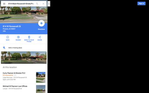 Screenshot of Maps & Directions Page google.com - 814 W Roosevelt St - Google Maps - captured Feb. 14, 2018