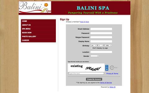 Screenshot of Signup Page balinispa.com - Signup - Balini Spa - captured Sept. 30, 2014