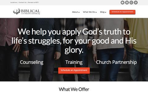 Screenshot of Home Page biblicalcounselingcenter.org - Biblical Counseling Center - captured Aug. 2, 2018