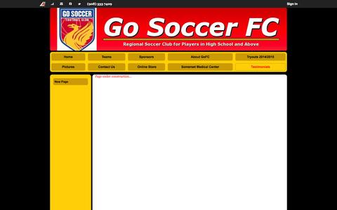 Screenshot of Testimonials Page gosoccerfc.com - New Page - captured Sept. 30, 2014