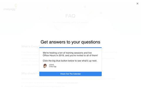 Screenshot of FAQ Page crazyegg.com - Crazy Egg   FAQ - captured Feb. 1, 2019