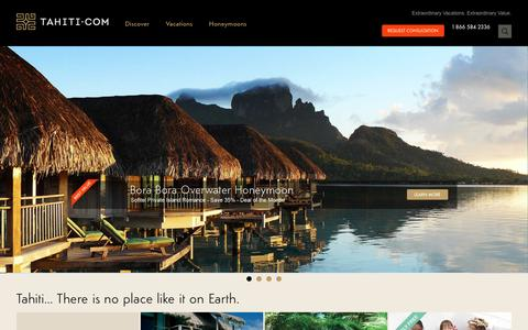 Screenshot of Home Page tahiti.com - TAHITI.COM | Tahiti Travel, Bora Bora Honeymoon Vacation Specialists - captured Jan. 19, 2016