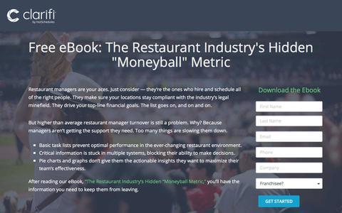 Screenshot of Landing Page hotschedules.com - HotSchedules Free eBook: Moneyball Metric - captured March 8, 2018