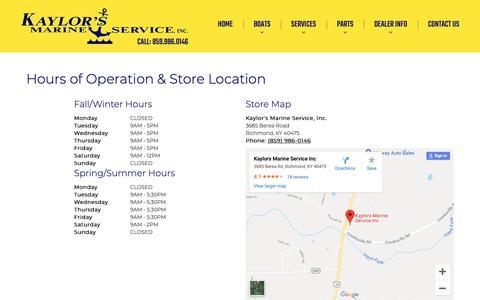 Screenshot of Hours Page kaylorsmarine.com - Hours and Location | Kaylor's Marine Service, Inc. | Richmond Kentucky - captured Dec. 4, 2018
