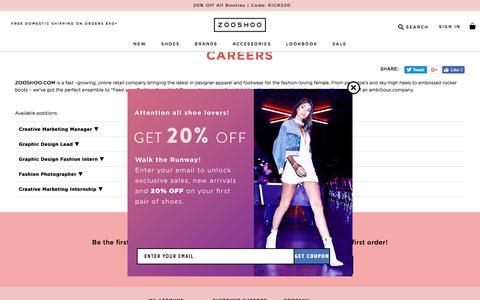 Screenshot of Jobs Page zooshoo.com - Careers | ZOOSHOO | ZOOSHOO - captured Sept. 22, 2018
